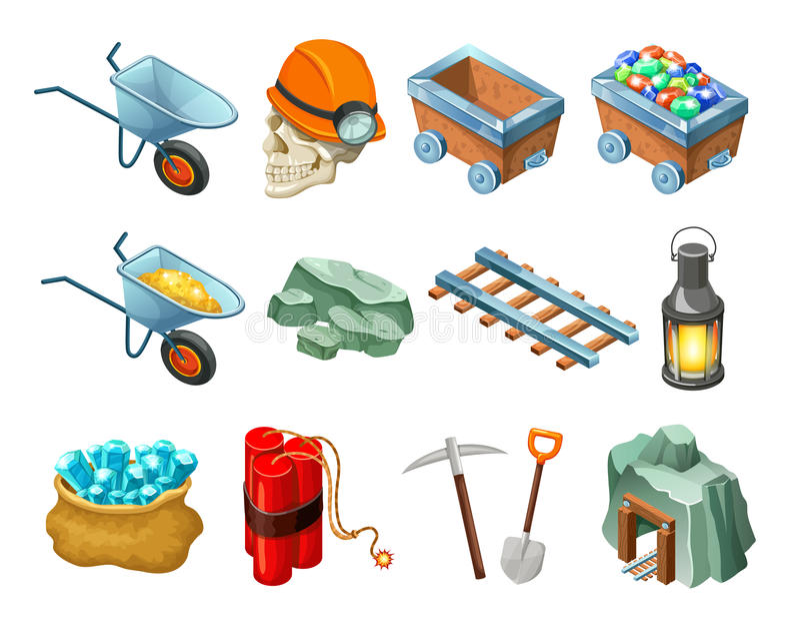 Coleção isométrica dos elementos do jogo da mineração ilustração royalty free