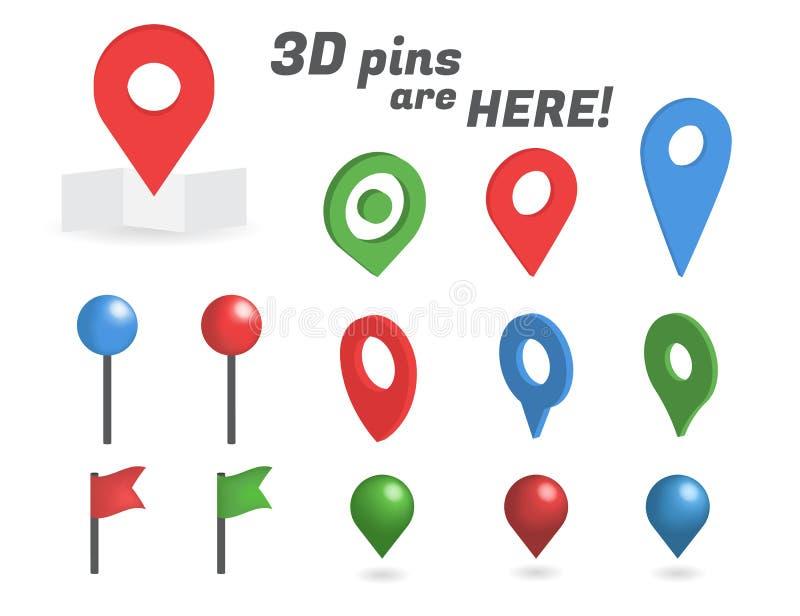 Coleção isométrica dos pinos 3d da navegação ilustração do vetor