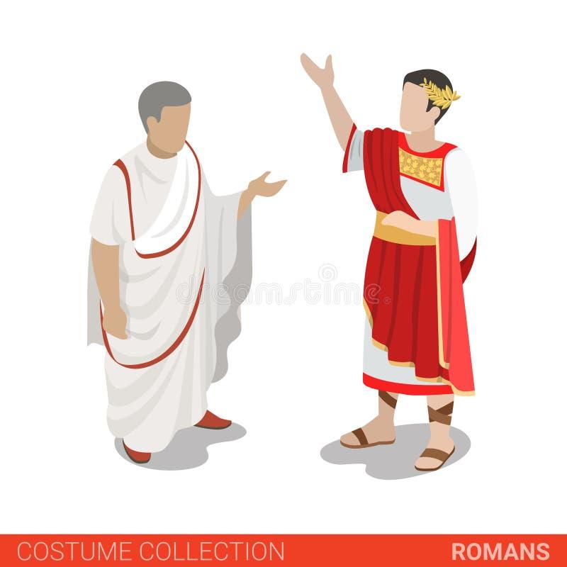 Coleção isométrica lisa do traje 3d de Roman Empire Caesar Senator ilustração stock