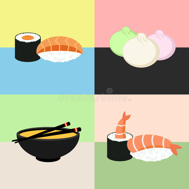 Coleção japonesa do sushi do alimento Camarão, dim sum, sopa de miso, rolo Jogo do ícone do Web ilustração royalty free