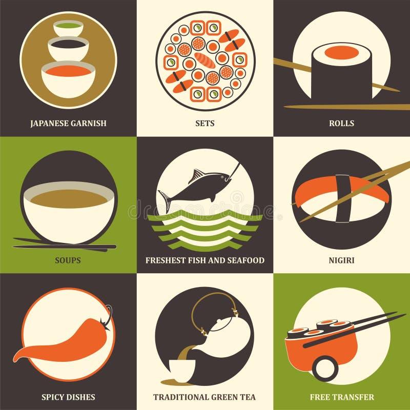 Coleção japonesa do sushi do alimento Grupo de ícones lisos coloridos Ilustração do vetor ilustração do vetor