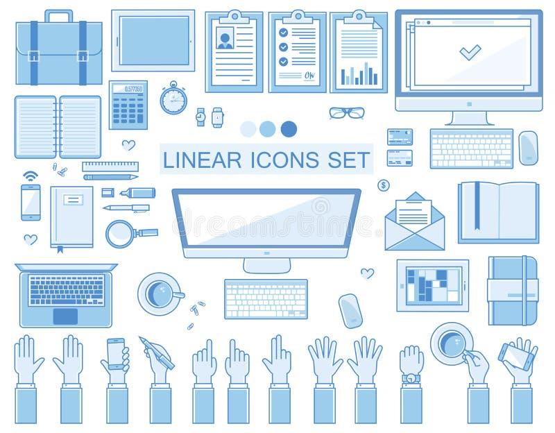 Coleção linear dos ícones do local de trabalho do vetor, lisa ilustração royalty free
