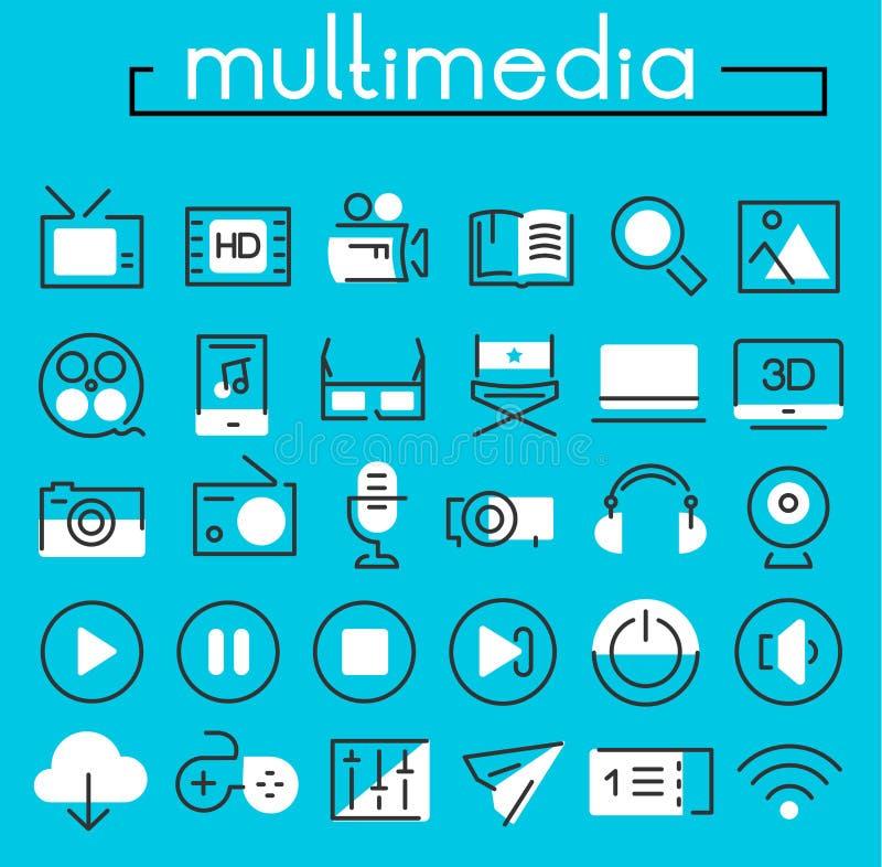 Coleção linear dos ícones dos multimédios ilustração royalty free