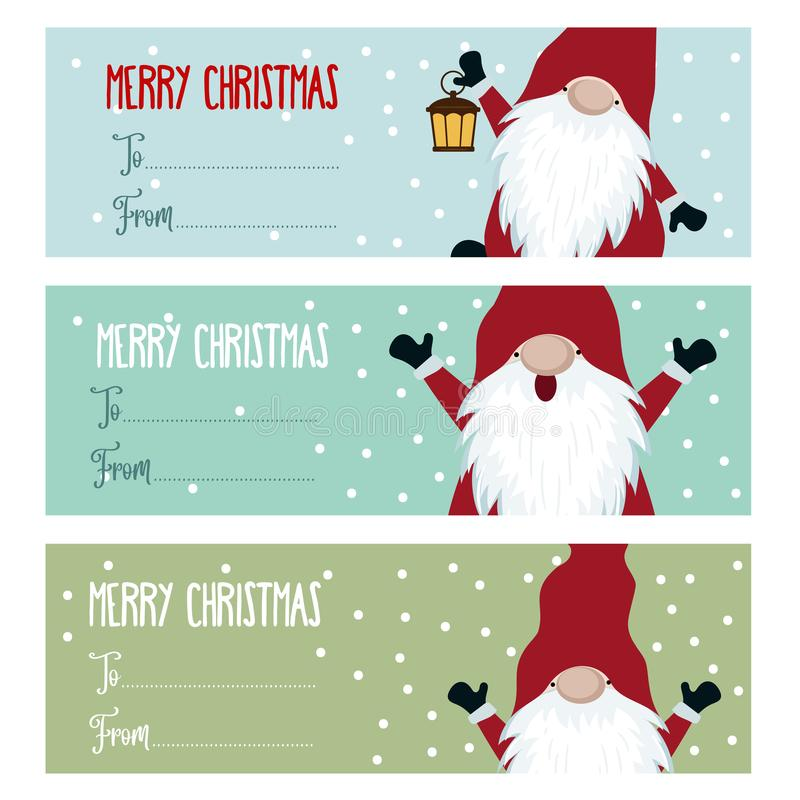 Coleção lisa bonito das etiquetas do Natal do projeto com gnomos ilustração royalty free
