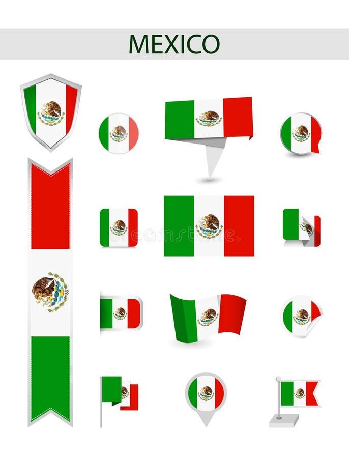 Coleção lisa da bandeira de México ilustração do vetor