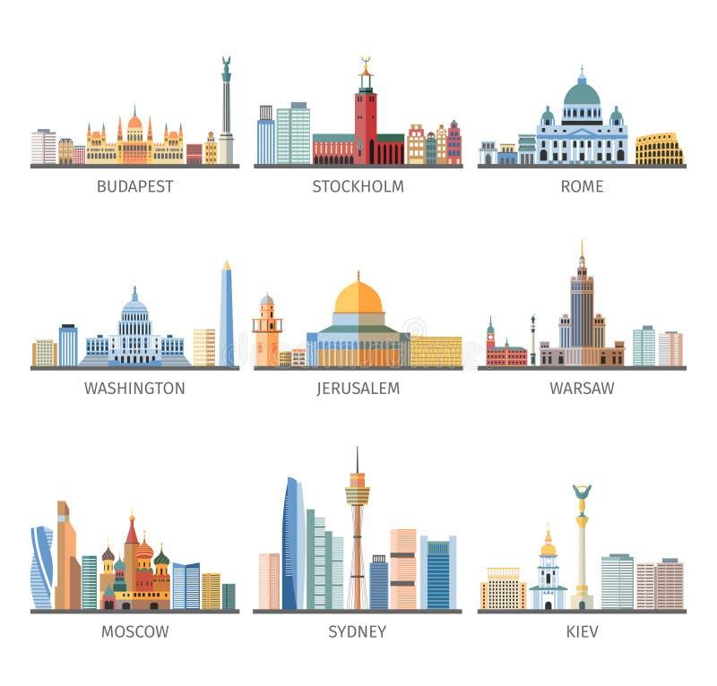 Coleção lisa dos ícones das arquiteturas da cidade mundialmente famosas ilustração royalty free