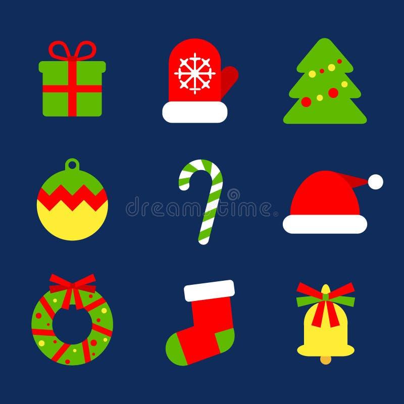 Coleção lisa dos ícones do Natal da Web Ajuste de 9 elementos para a decoração do ano novo ilustração do vetor