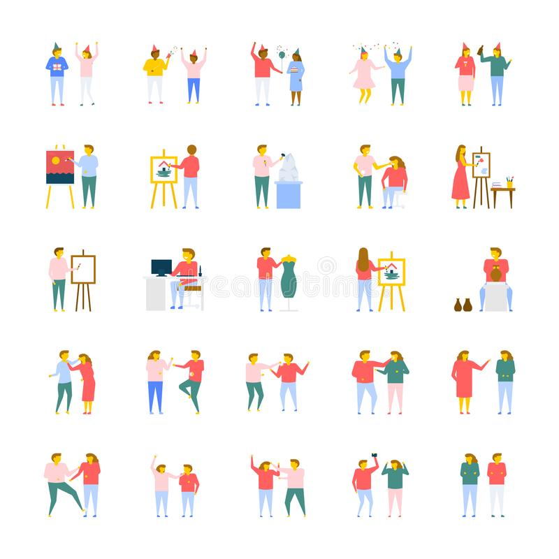coleção lisa dos ícones do vetor dos povos ilustração stock