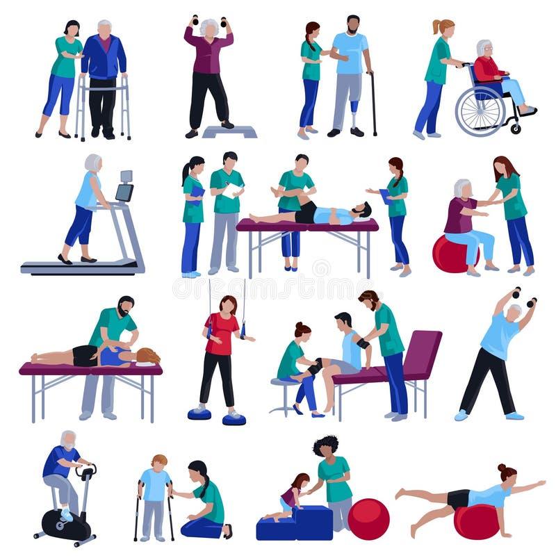 Coleção lisa dos ícones dos povos da reabilitação da fisioterapia ilustração royalty free