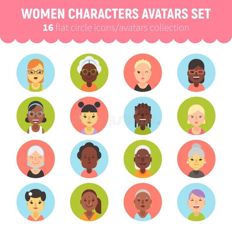 Coleção lisa dos avatars do caráter das mulheres e das meninas ilustração stock