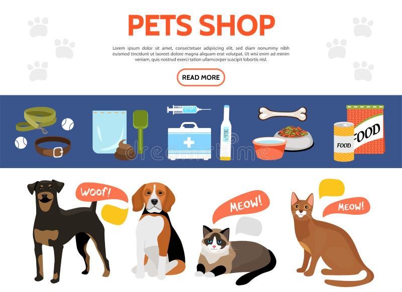 Coleção lisa dos elementos da loja de animais de estimação ilustração do vetor