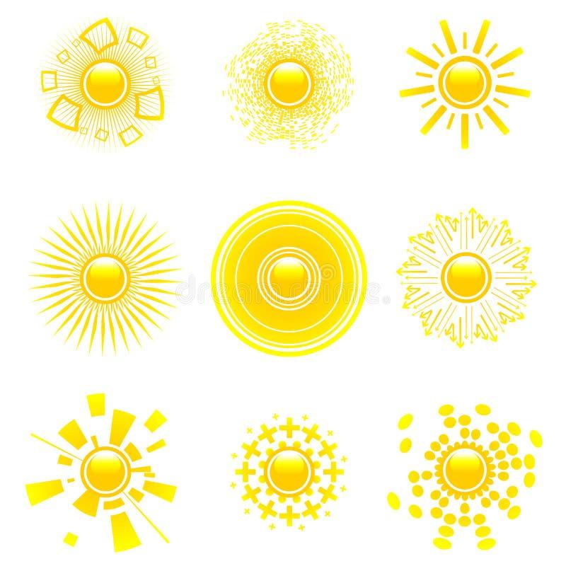 Coleção lustrosa do sol. ilustração royalty free