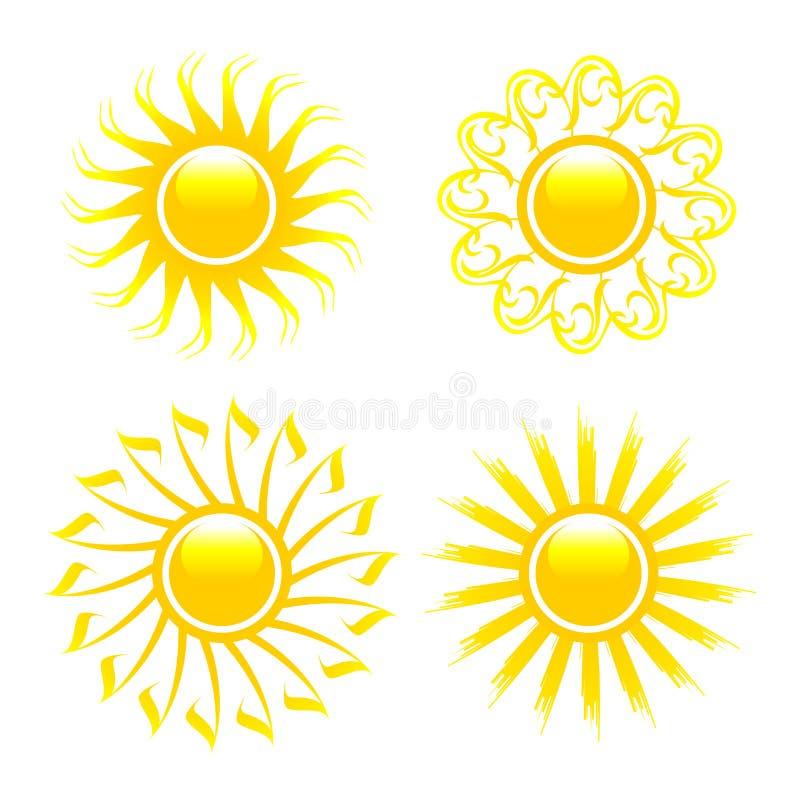 Coleção lustrosa do sol. ilustração do vetor