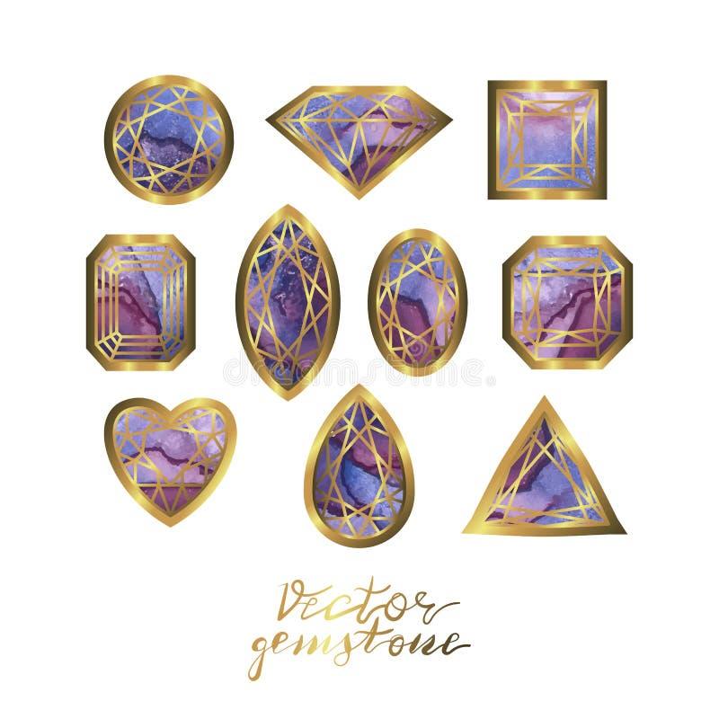 Coleção luxuosa de pedras preciosas diferentes, diamante, coração, círculo, quadrado, linhas douradas do fith ilustração do vetor