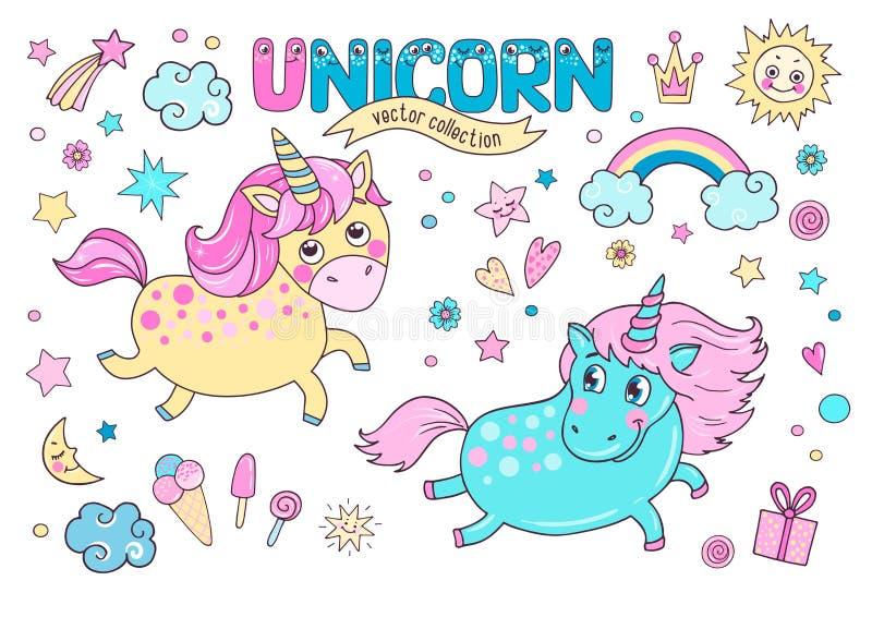 Coleção mágica bonito com dois unicórnios, arco-íris, nuvens ilustração stock