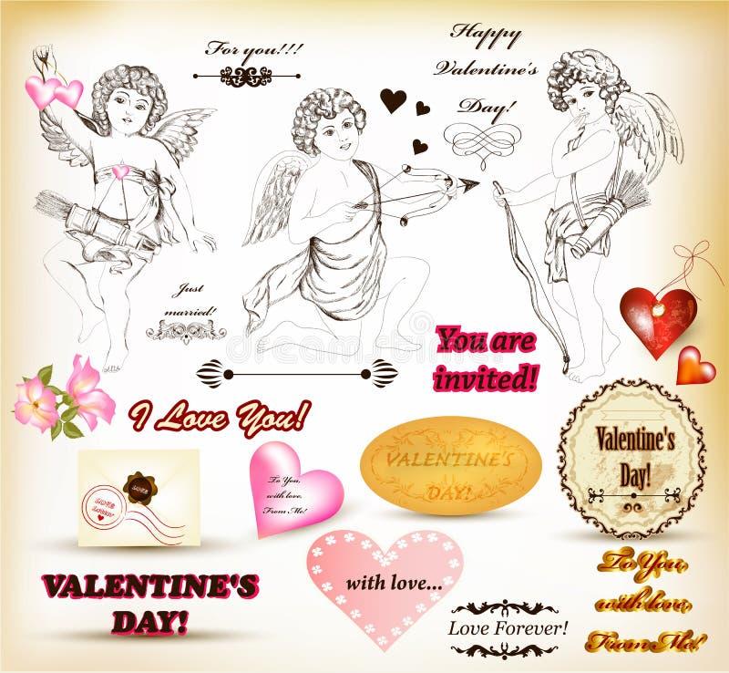 Coleção mão retro de elementos desenhados para o dia de Valentim ilustração royalty free