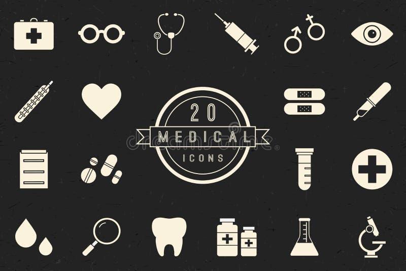 Coleção médica monocromática lisa dos ícones imagem de stock