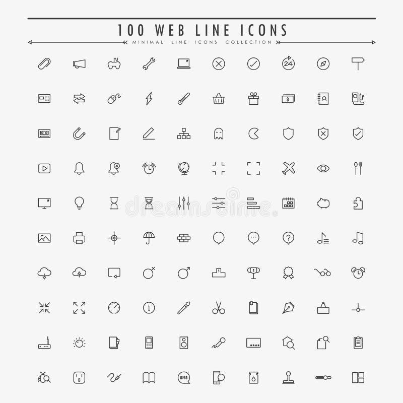 coleção mínima de 100 ícones do esboço da Web ilustração royalty free