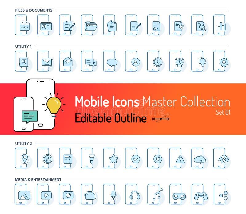 Coleção móvel do ícone, curso do ícone do esboço, ícones de documento, ícones dos meios, e-mail, mensagens, serviços da engrenage ilustração do vetor