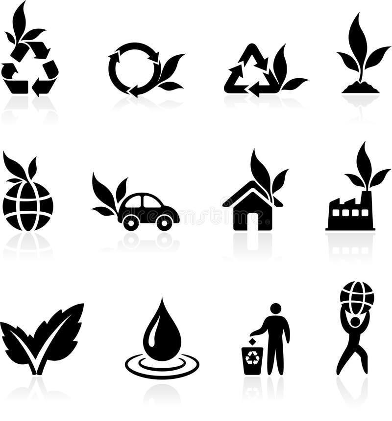 Coleção mais verde do ícone do ambiente ilustração stock