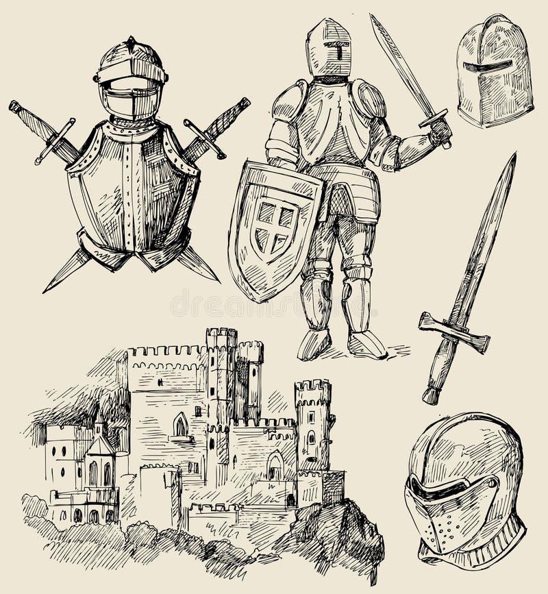 Coleção medieval ilustração do vetor