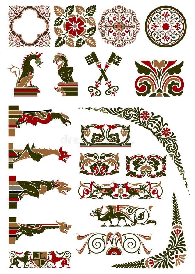 Coleção medieval do motivo imagem de stock royalty free