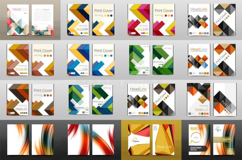 Coleção mega das tampas do informe anual do negócio, tamanho A4 ilustração do vetor