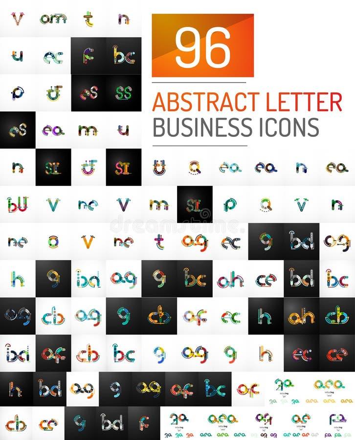 Coleção mega de ícones do logotipo da letra inicial do vetor ilustração stock