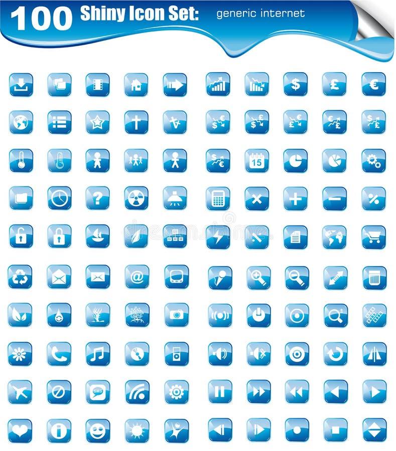 A coleção mega de 100 ícones para Web site abotoa-se ilustração do vetor