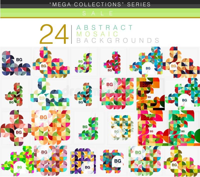 Coleção mega de 24 baixos fundos polis do sumário do triângulo do círculo ilustração stock