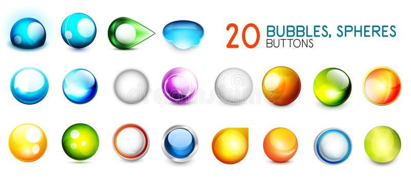 Coleção mega de botões da esfera da cor ilustração royalty free