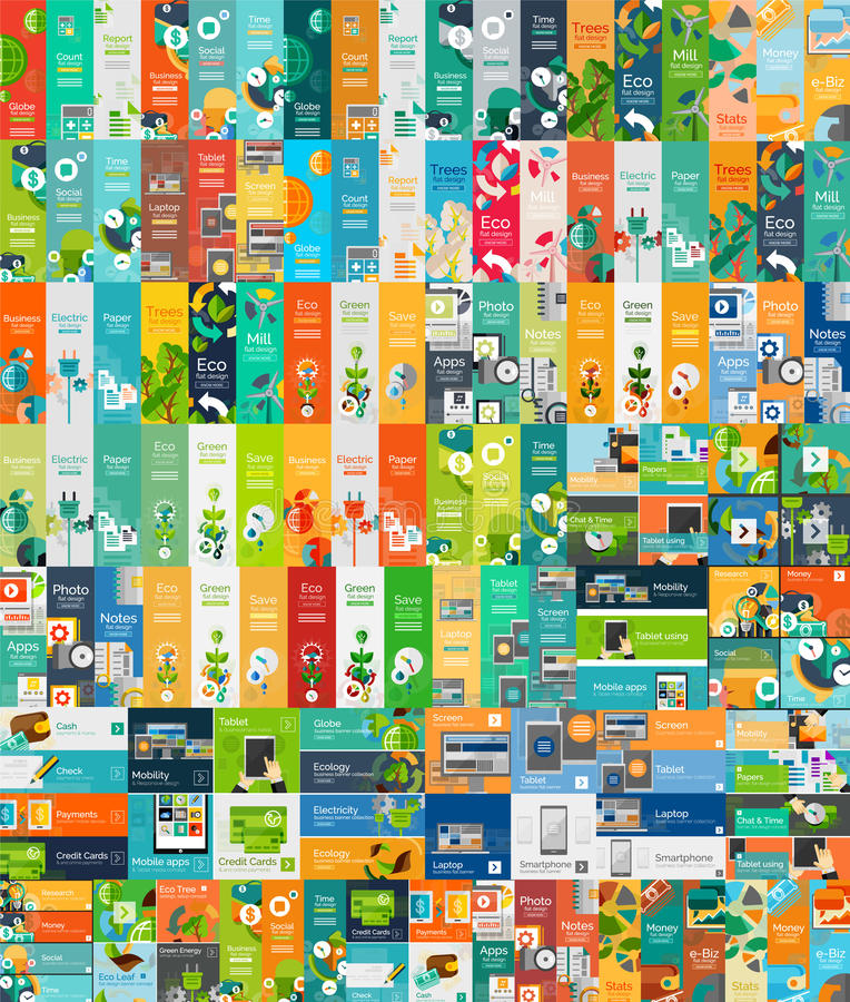 Coleção mega de conceitos infographic da Web lisa ilustração royalty free