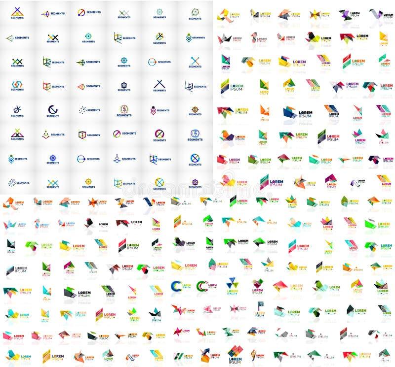 A coleção mega de moldes abstratos geométricos do logotipo, origâmi forra ícones do negócio do estilo com texto da amostra Vetor ilustração stock