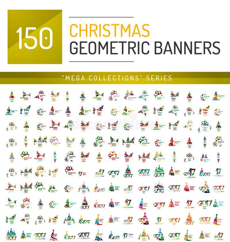 Coleção mega de moldes da bandeira da venda do Natal ilustração do vetor