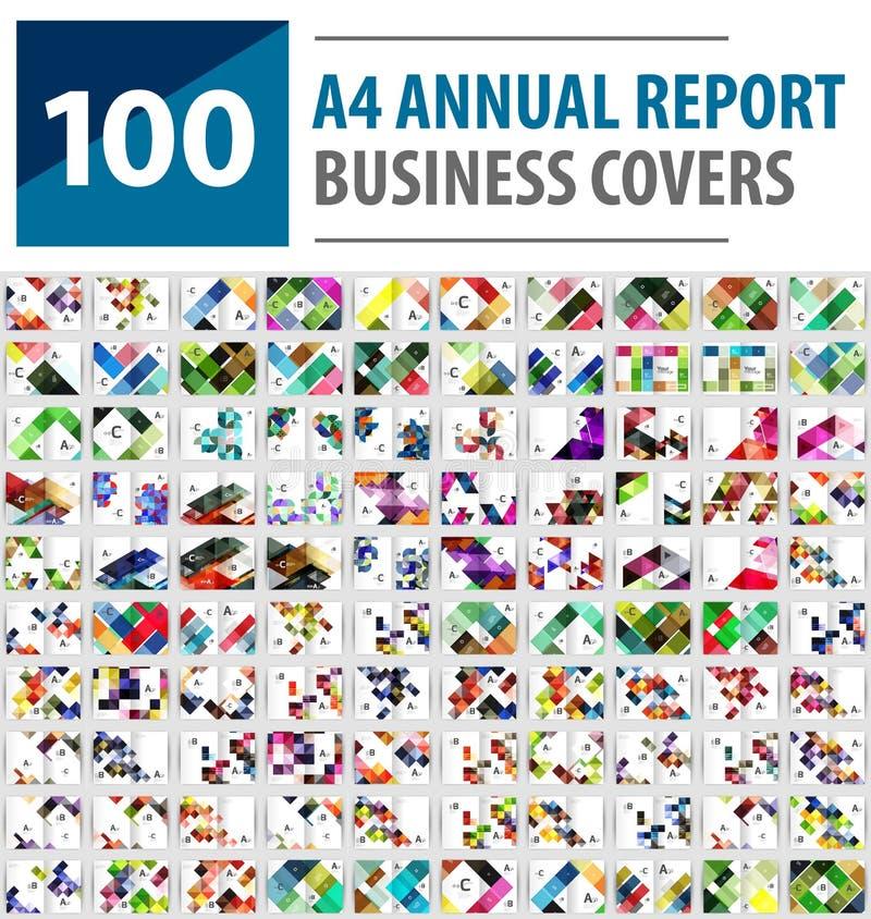 Coleção mega de 100 moldes do folheto do informe anual do negócio, tampas do tamanho A4 ilustração stock