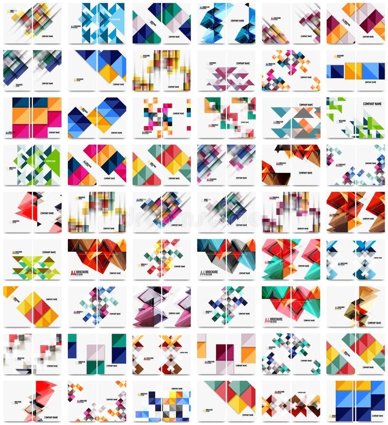 Coleção mega de 100 moldes do folheto do informe anual do negócio, tampas do tamanho A4 criadas com os testes padrões modernos ge ilustração do vetor