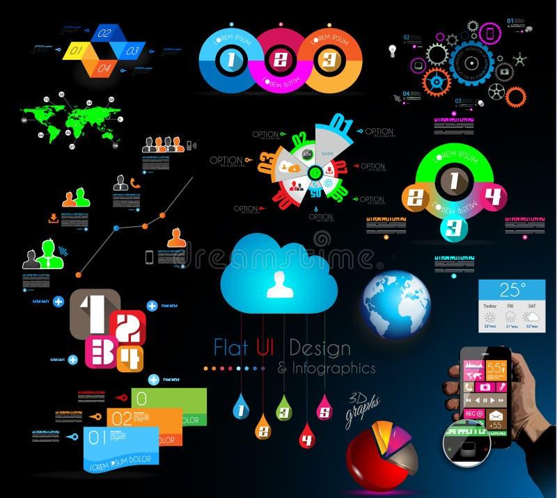 Coleção mega de objetos de Infographics da qualidade ilustração royalty free