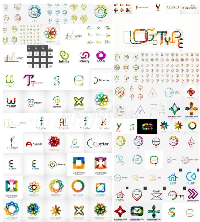 Coleção mega do logotipo ilustração royalty free