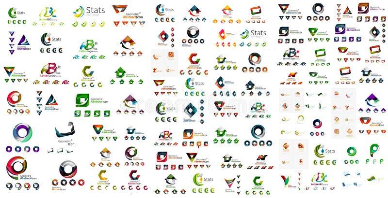 Coleção mega do logotipo, negócio geométrico abstrato ilustração stock