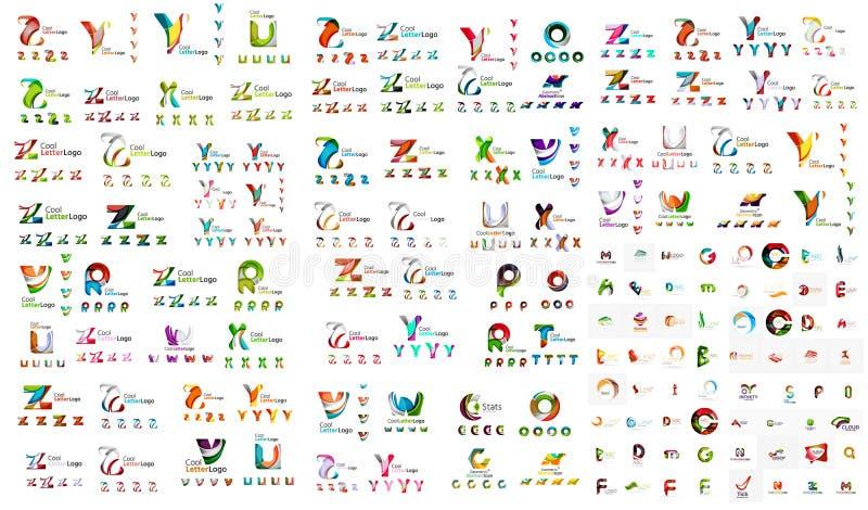 Coleção mega do logotipo, negócio geométrico abstrato ilustração royalty free