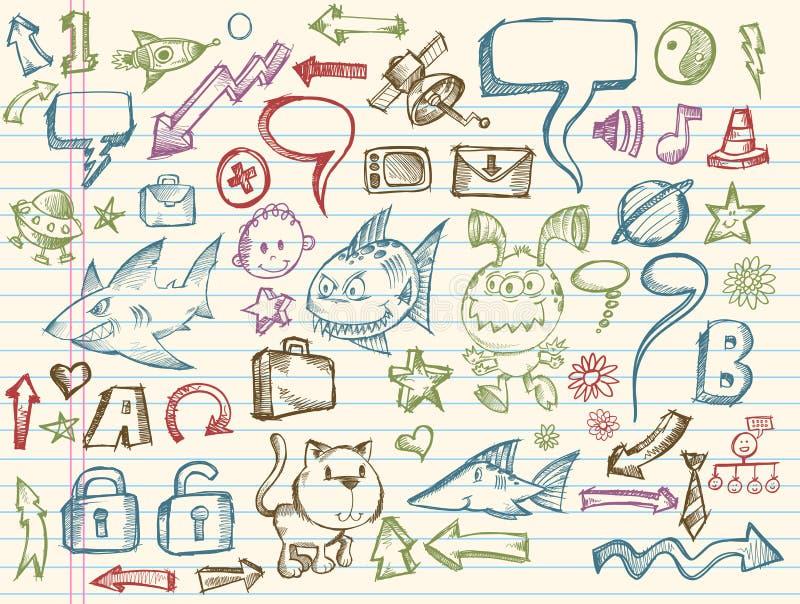 Coleção mega do vetor do esboço do Doodle