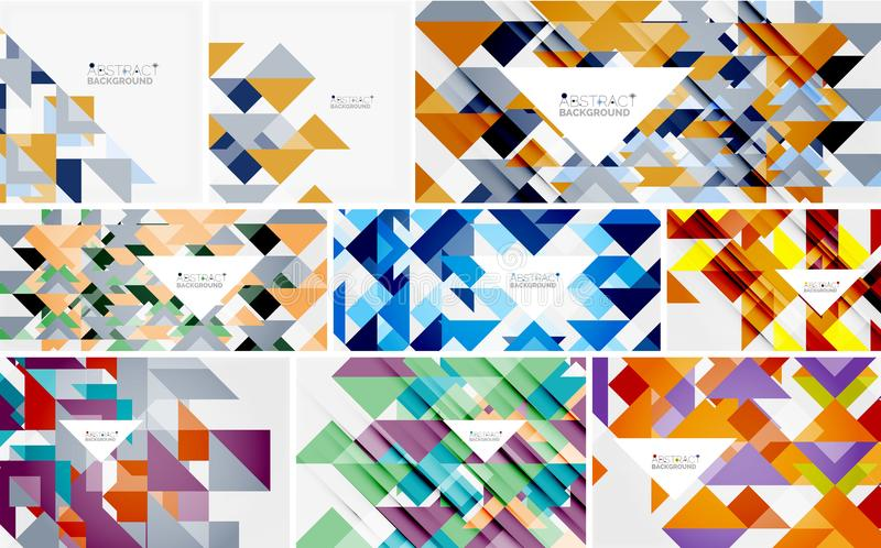 Coleção mega dos moldes do triângulo - o fundo abstrato projeta Para bandeiras, fundos do negócio, apresentações ilustração do vetor