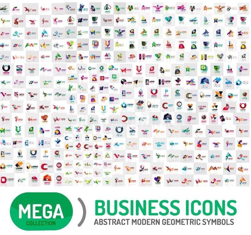 Coleção mega enorme de logotipos abstratos ilustração do vetor