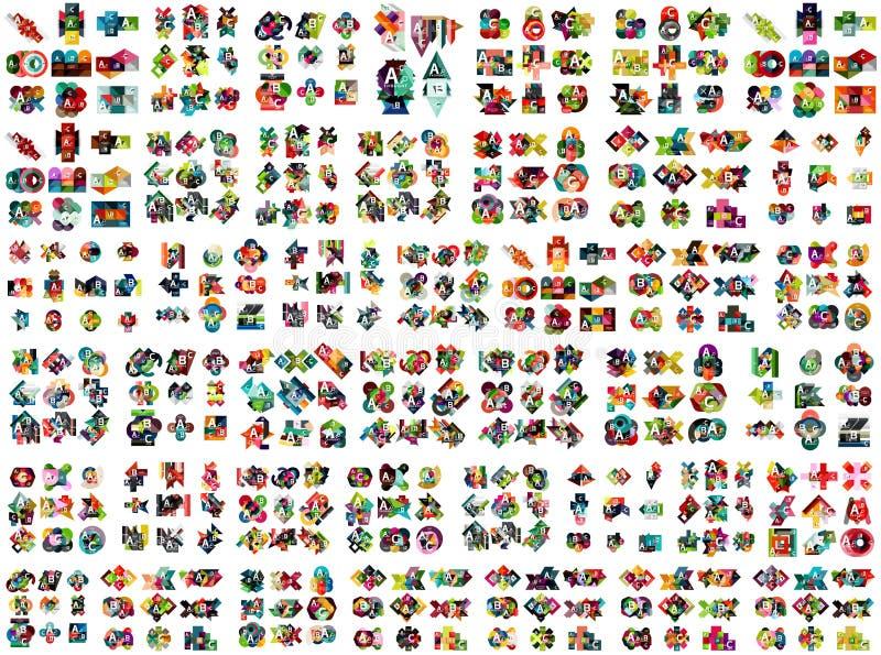 Coleção mega enorme dos projetos infographic da opção geométrica do negócio, elementos de papel coloridos do projeto do estilo pa ilustração stock