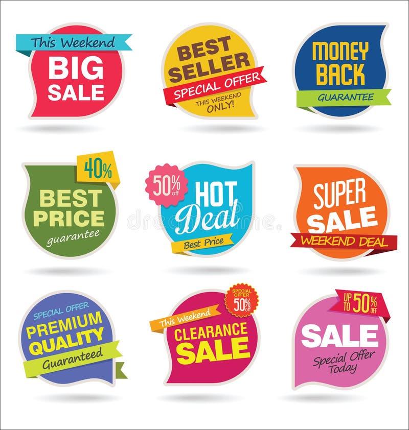 A coleção moderna das etiquetas e das etiquetas da venda vector a ilustração ilustração stock