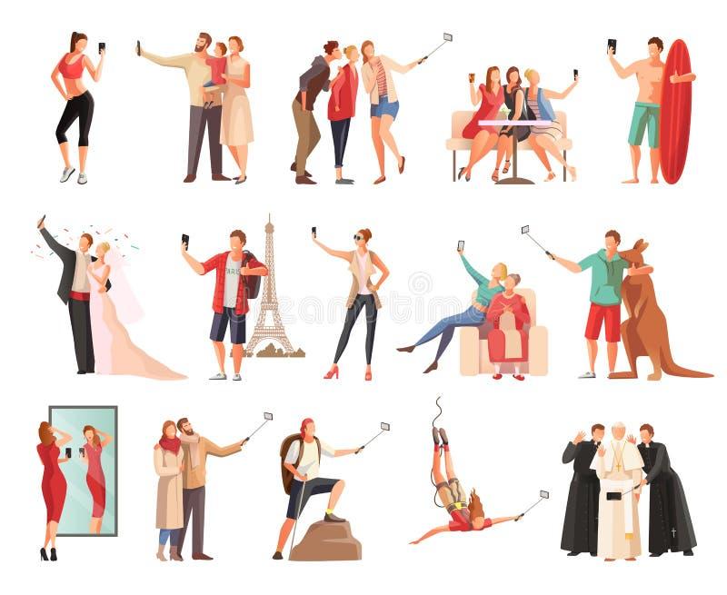 Coleção moderna do estilo de vida de Selfie ilustração royalty free