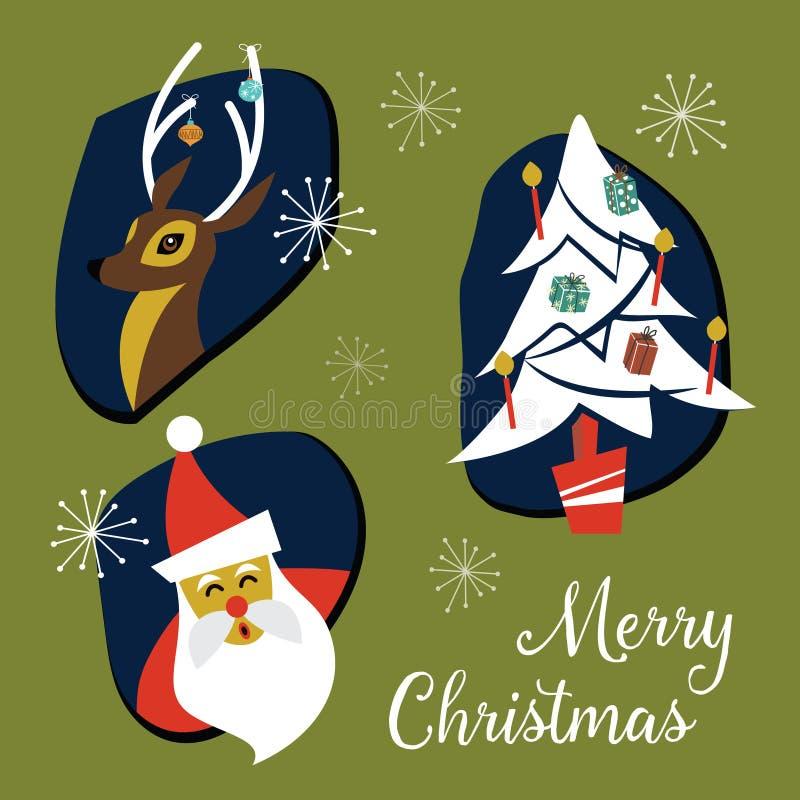 Coleção moderna dos crachás e dos elementos do Natal do século meados de Vec ilustração royalty free