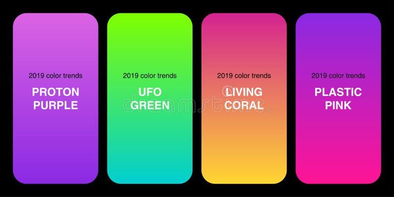 Coleção 2019 na moda dos inclinações da paleta de cores como o grupo de rosa plástico, de verde do UFO, de roxo de Proton e de co ilustração stock