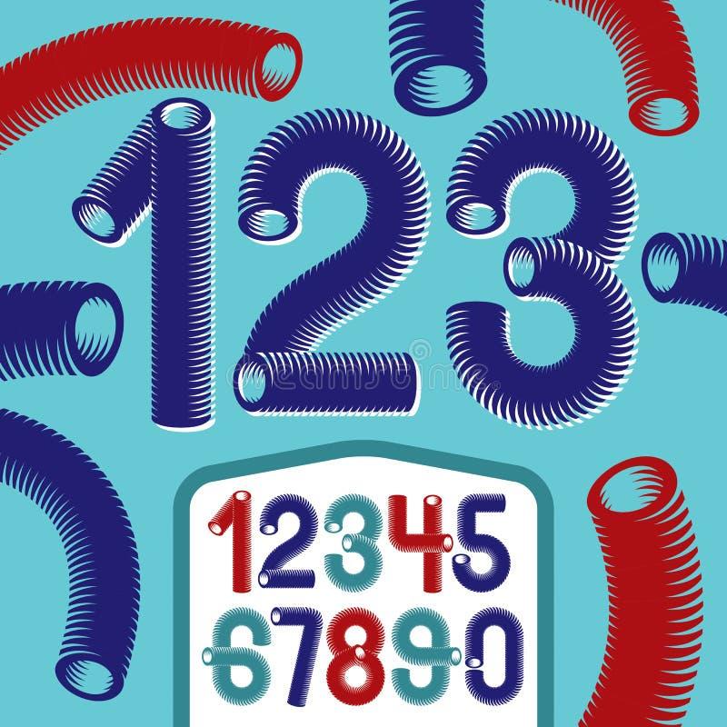 Coleção na moda dos numerais do vetor Números funky modernos de 0 t ilustração stock