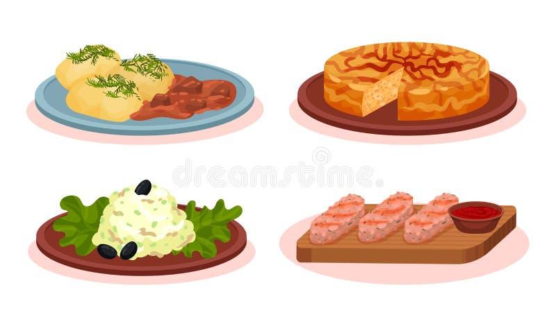Coleção Nacional De Pratos Alimentares Búlgaros Cuisine, Pedras De Carne Torradas, Kebapche, Snezhanka Salad, Patatnik Pie, Lavad ilustração stock